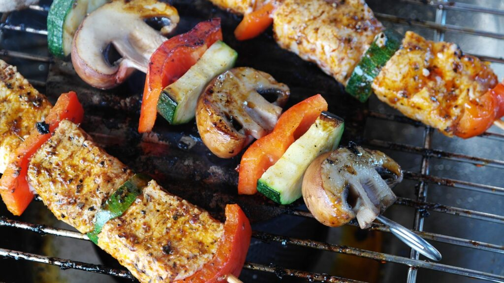 essential oils outdoors, grilling, grill, food on grill